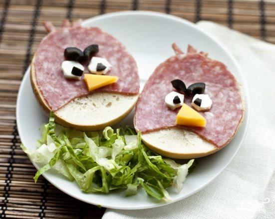 """Рецепт Бутерброды """"Angry Birds"""""""