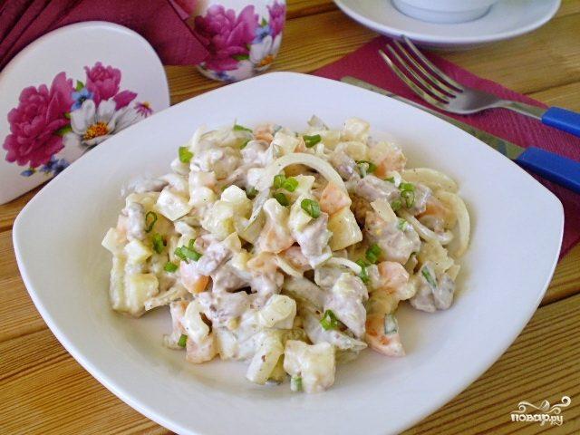 Салат с печенью куриной