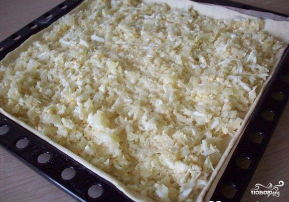 Пироги из слоеного теста с капустой - фото шаг 7