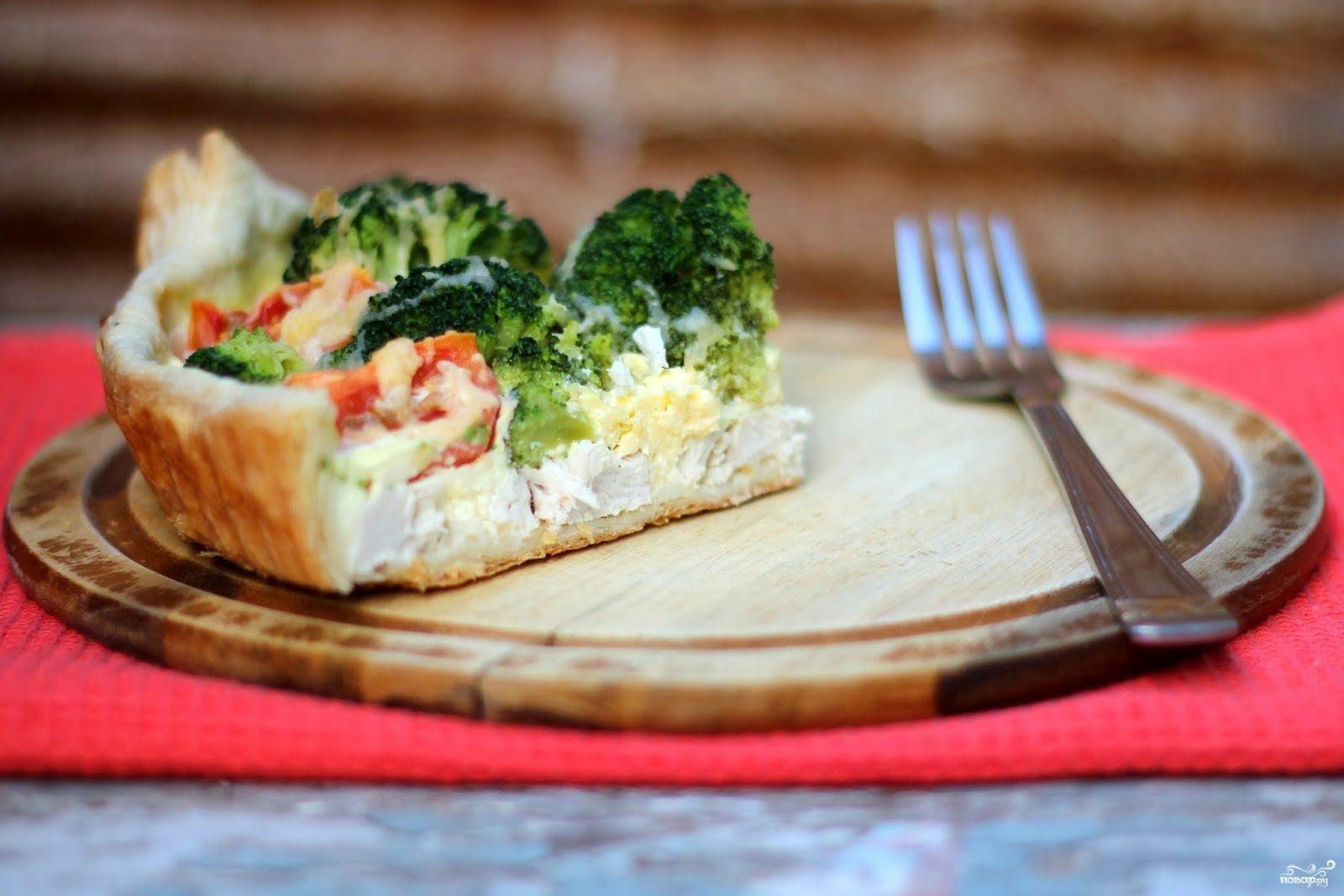 Пирог с брокколи и курицей рецепт с фото