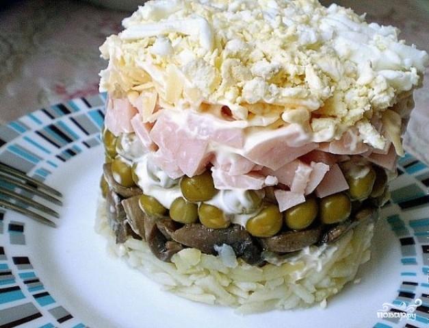 рецепт салата с ветчина сыр грибы