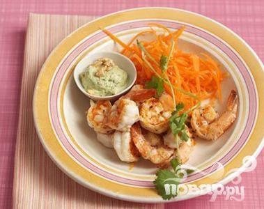 Рецепт Креветки с зеленым соусом карри