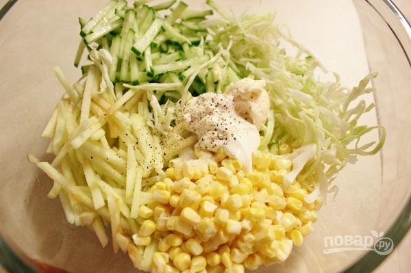 Салат из кукурузы и капусты - фото шаг 5