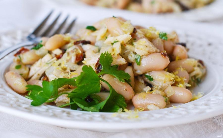 Салат с вешенками и фасолью - фото шаг 4