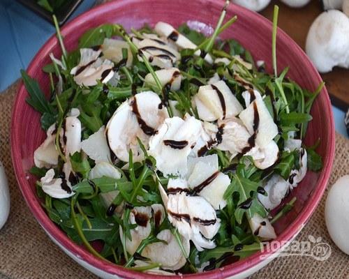 Салат с сырыми шампиньонами