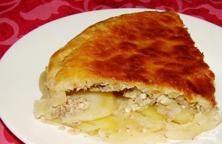 Рецепт пирог с сайрой из слоеного теста пошаговый рецепт с фото