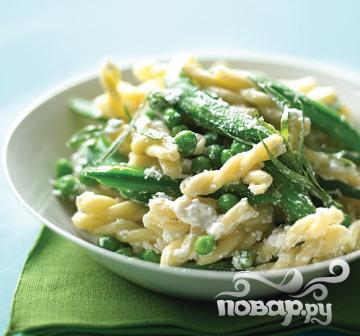 Рецепт Паста с фасолью, горошком и рикоттой