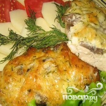 Куриное филе с грибами под сыром - фото шаг 6