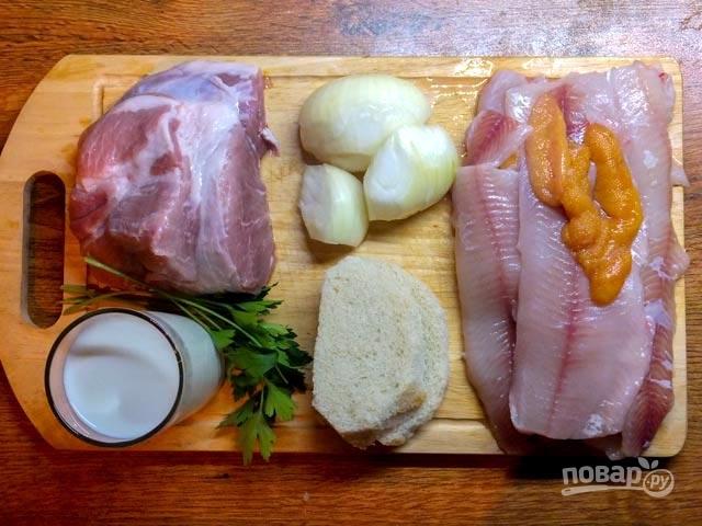 Котлеты из щуки со свининой - фото шаг 1