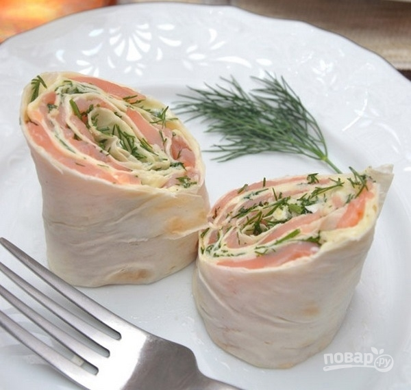 Лаваш с семгой сыром и зеленью рецепт