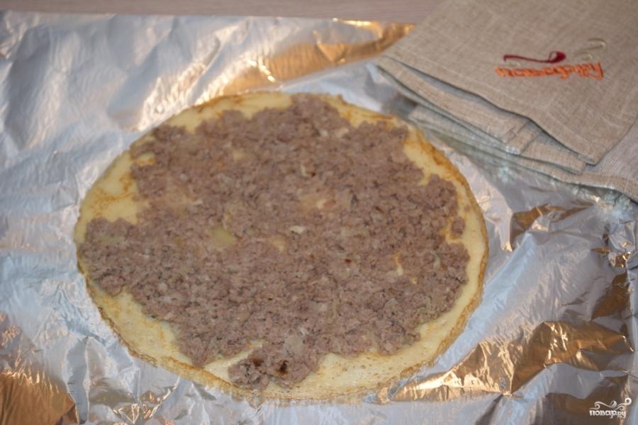 Блинный пирог с фаршем - фото шаг 6