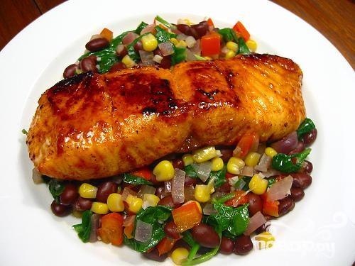 Рецепт Новогодний лосось с овощами