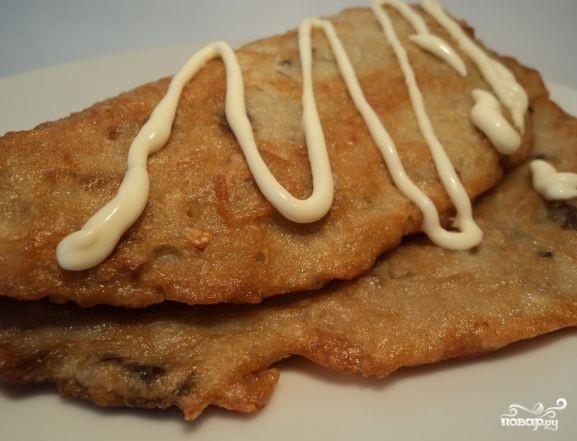 Картофельные блины с грибами