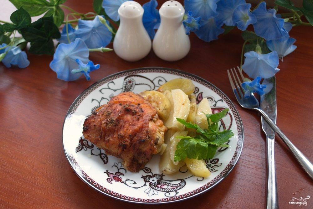 Окорочка в духовке с картошкой
