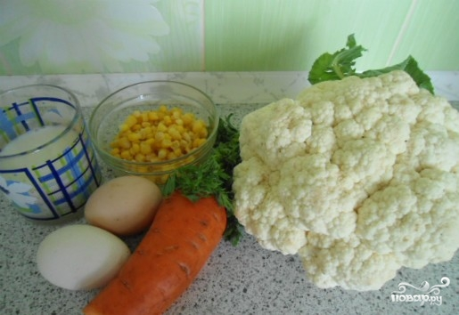 Рецепт Цветная капуста запеченная в духовке с яйцом