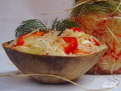 Рецепт Капуста с перцем на зиму