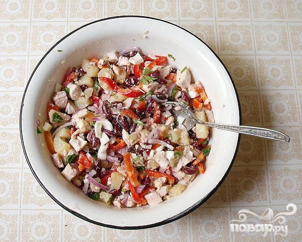 Салат с курицей и фасолью - фото шаг 6