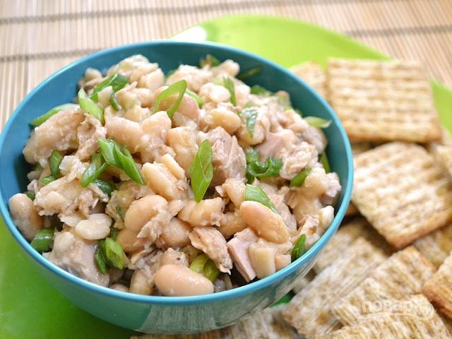 Салат с консервированной с белой фасолью рецепт с очень вкусный