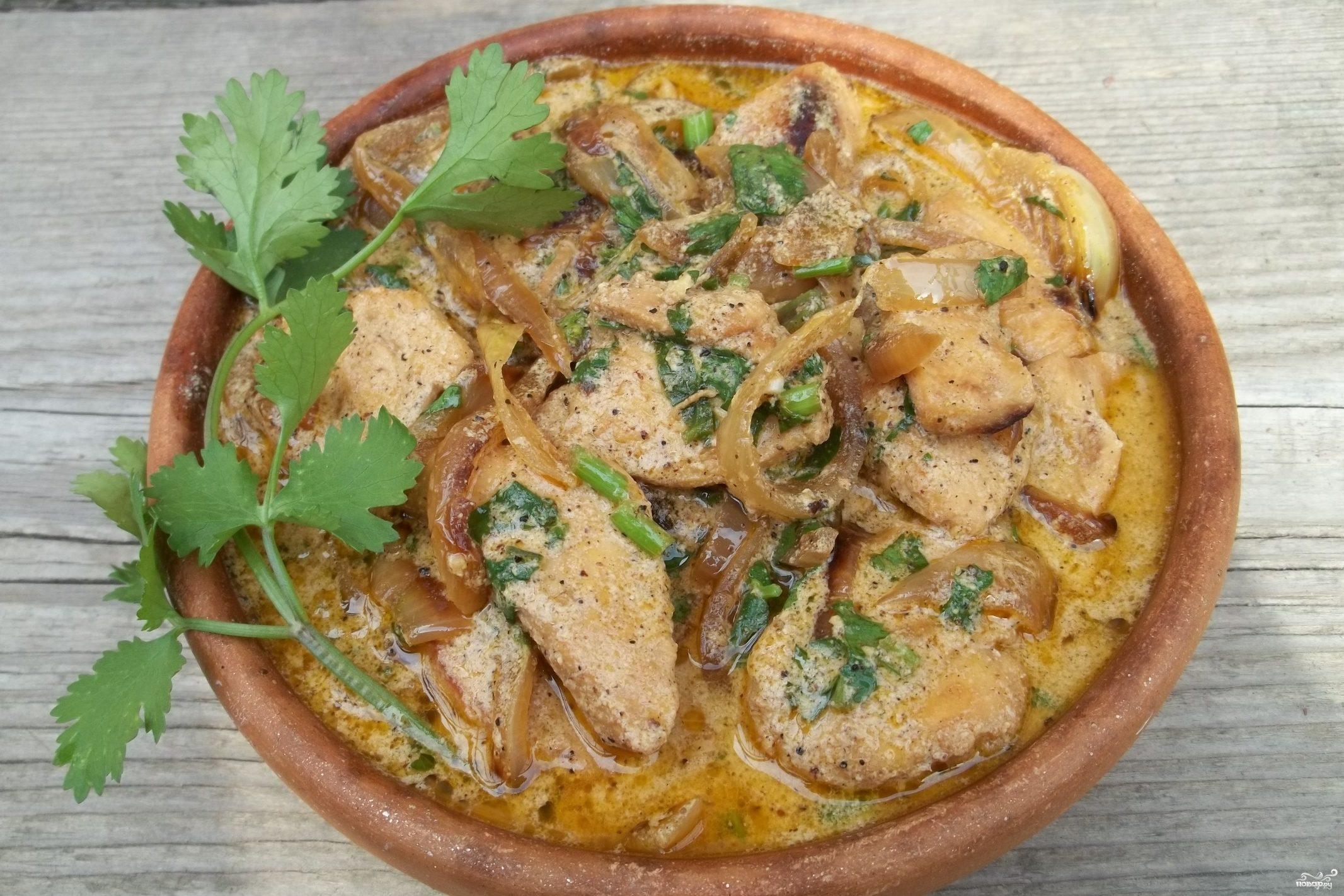 Филе курицы тушеное в сметане на сковороде рецепт пошагово