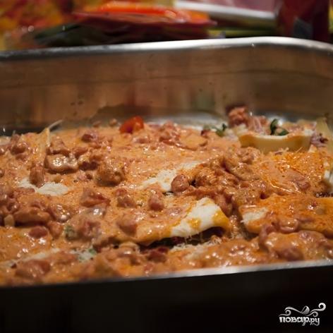 Лазанья с колбасой  рецепт с фото