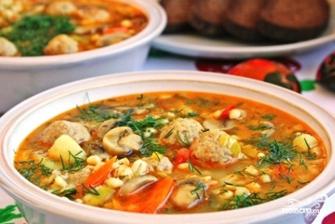 Суп с фрикадельками и перловкой - фото шаг 8