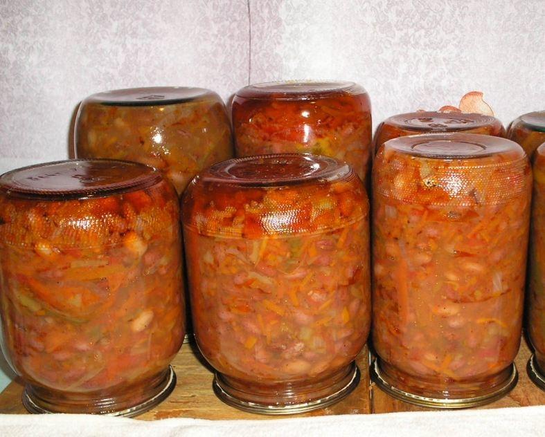 Рецепт Салат с фасолью на зиму