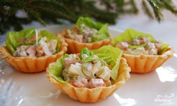 Салат легкий и вкусный в тарталетках
