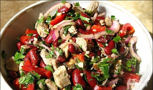 салат с фасолью с мясом рецепт с фото