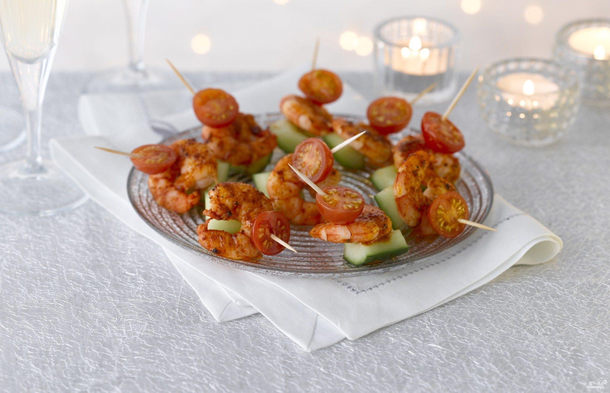 Рецепт Канапе с креветками пикантные