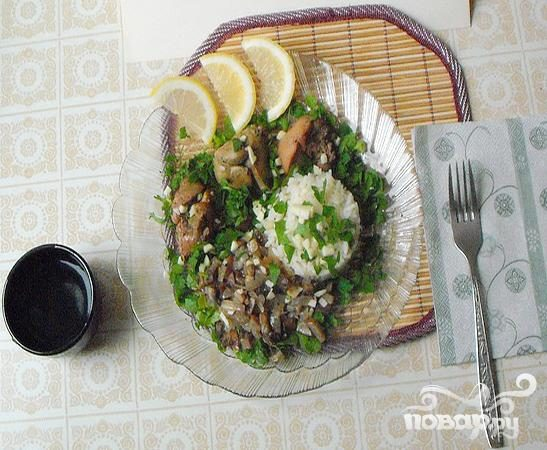 Печень с рисом и грибами