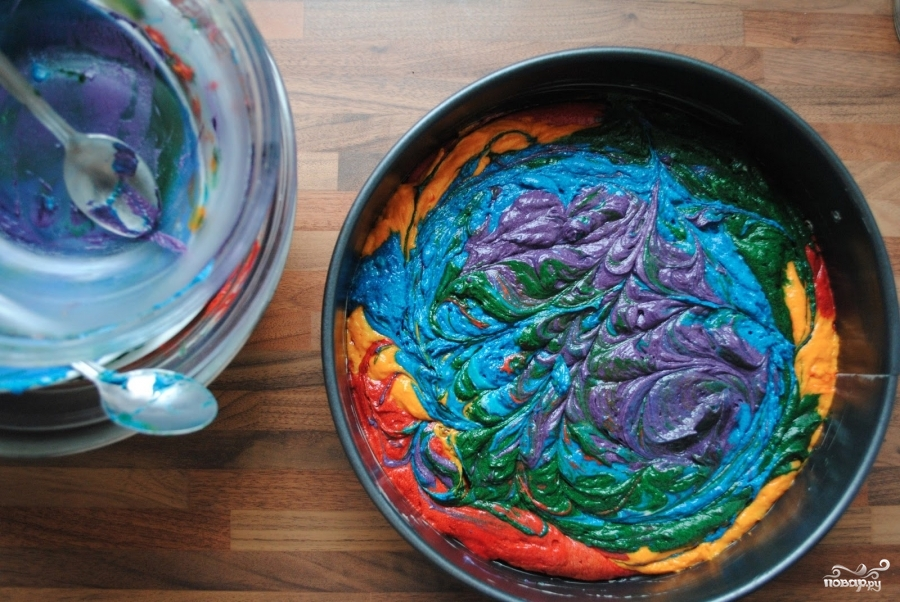 """Торт """"Радуга"""" с пищевыми красителями - фото шаг 7"""