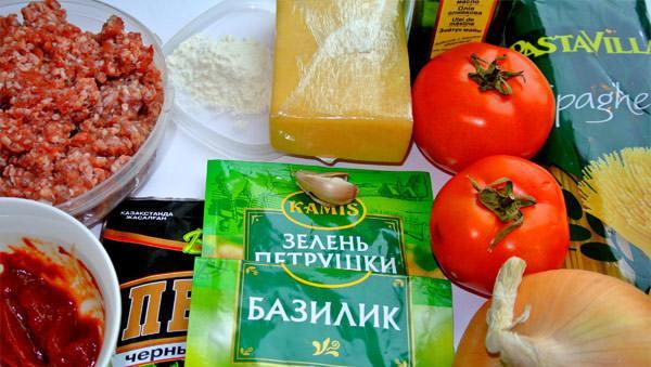 Рецепт Спагетти с помидорами и фаршем