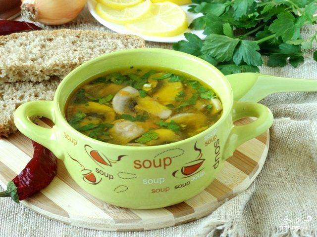рецепт постный грибной суп из