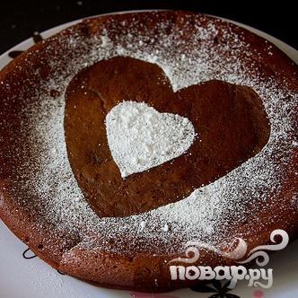 Шоколадный пирог с сердцем - фото шаг 7