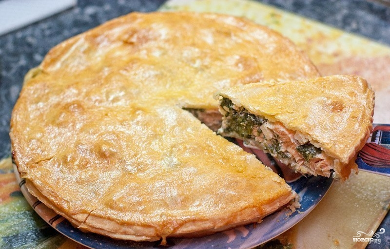 пирог с красной рыбой фото рецепт