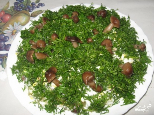Рецепты салата грибная поляна опятами фото