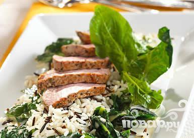 Рецепт Нежная свинина со шпинатом