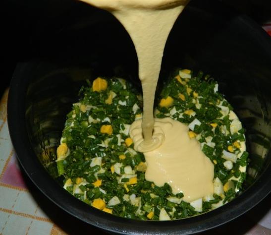 Пирог с зеленым луком на кефире - фото шаг 2