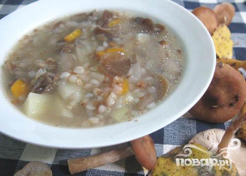 Суп из опят с гречкой