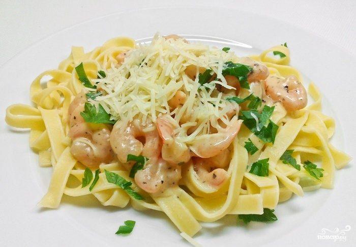 Фетучини с морепродуктами в сливочном соусе