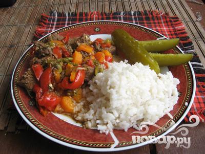 Рецепт Кабан тушеный с красным перцем