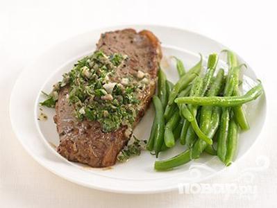 Рецепт Говяжий стейк с сальсой и фасолью