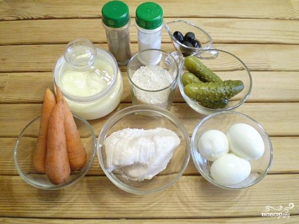 Рецепт Салат Обезьянка с рисом и курицей