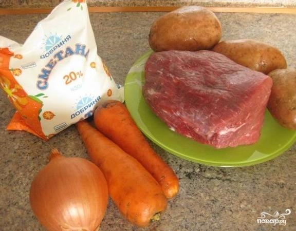 Рецепт Мясо с картофелем в рукаве