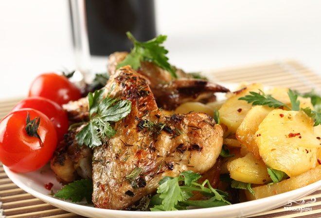 Рецепт Курица с картошкой и помидорами