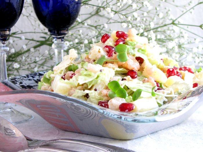 рецепт салата с креветками и с капустой