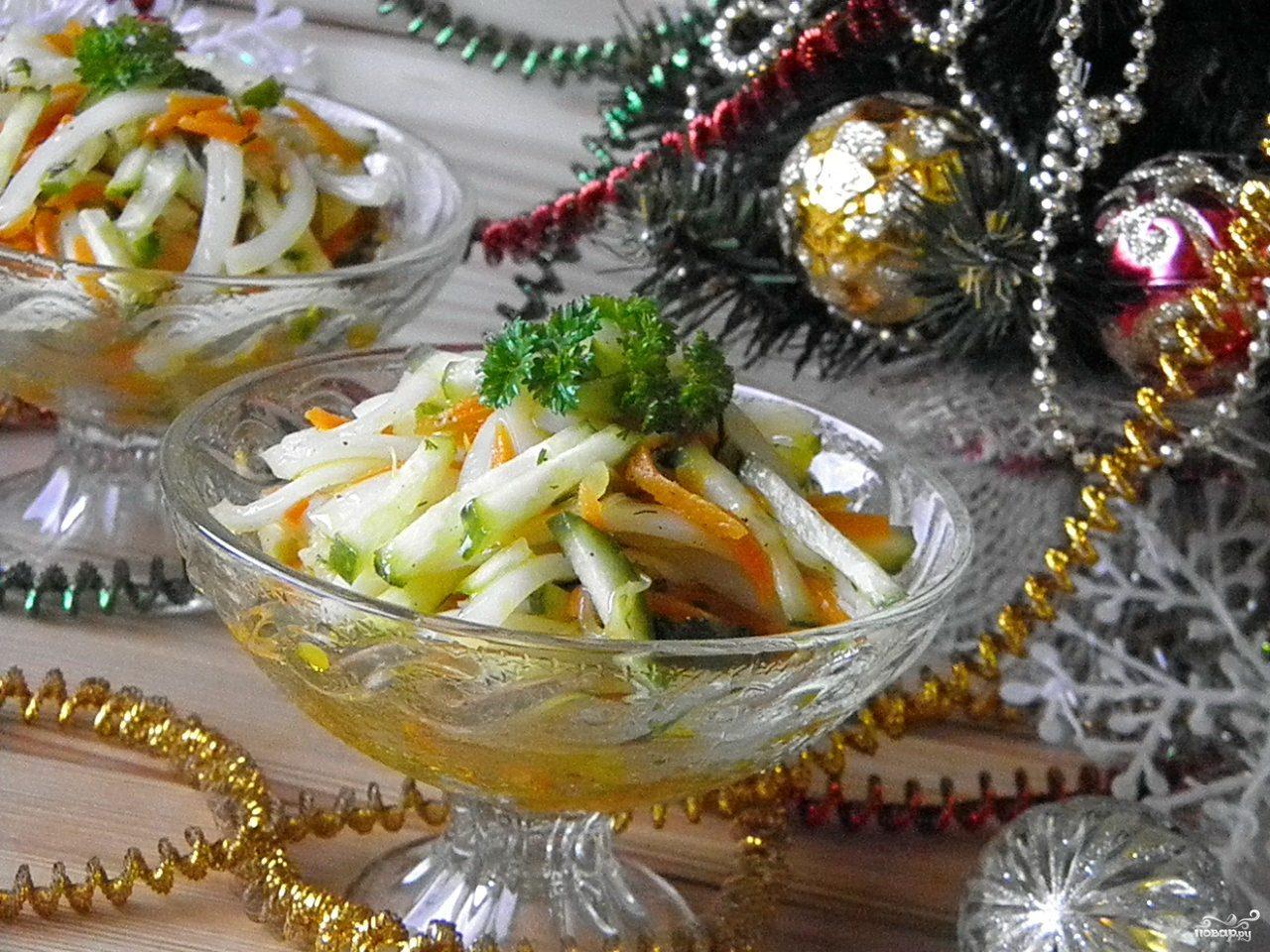 салат с кальмарами диетический рецепт с фото