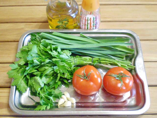 Рецепт Помидоры с зеленью и чесноком