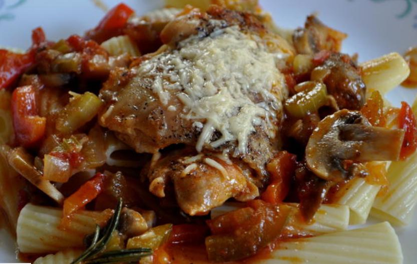 рецепт курицы с овощами в духовке с сыром
