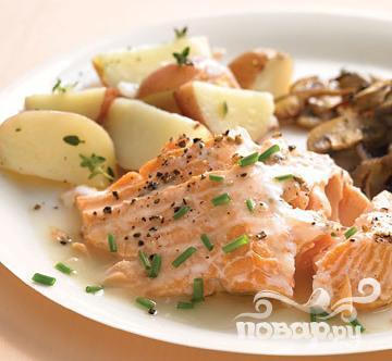 Рецепт Запеченный лосось с винным соусом